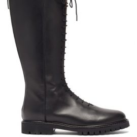 Legres - Lace-up Knee-high Leather Boots - Womens - Black
