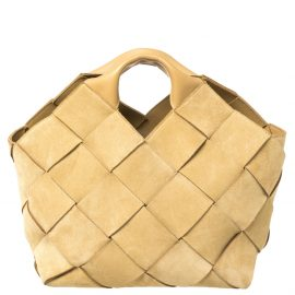 Loewe Beige Woven Suede and Leather Basket Tote