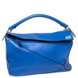 Loewe Blue Leather Large Puzzle Shoulder Bag