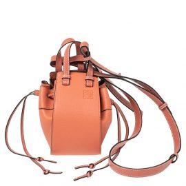 Loewe Peach Leather Mini Hammock Drawstring Bag