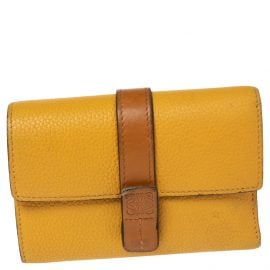 Loewe Yellow Grained Leather Trifold Wallet