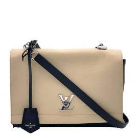 Louis Vuitton Beige Leather Lockme II Shoulder Bag