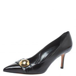 Louis Vuitton Black Leather Pointed Toe Pumps Size 36.5