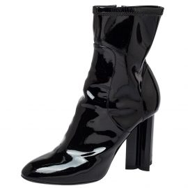 Louis Vuitton Black Patent Leather Silhouette Ankle Boots Size 37