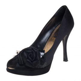 Louis Vuitton Black Satin Peep Toe Pumps Size 36.5