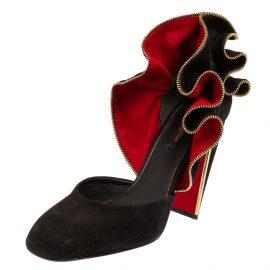 Louis Vuitton Black Suede Trimmed Pumps Size 38.5