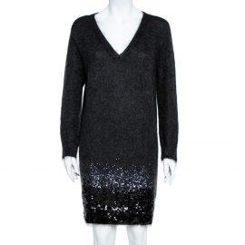 Louis Vuitton Black Wool Sequin Embellished Sweater Dress L