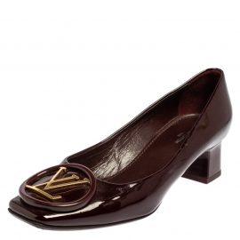 Louis Vuitton Burgundy Patent Leather LV Logo Block Heel Pumps Size 36
