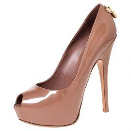 Louis Vuitton Dark Beige Patent Leather Oh Really! Peep Toe Platform Pumps Size 40.5