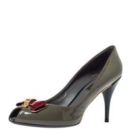 Louis Vuitton Grey Patent Leather Lou Peep Toe Pumps Size 37.5