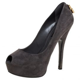 Louis Vuitton Grey Suede Oh Really! Peep Toe Platform Pumps Size 37