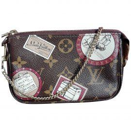 Louis Vuitton Pochette Accessoire Brown Cloth Clutch Bag for Women