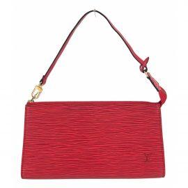 Louis Vuitton Pochette Accessoire Red Leather Clutch Bag for Women