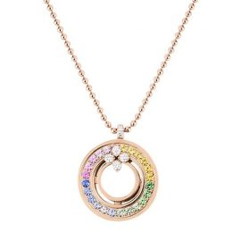 Love In Verona 18K Rose Gold, Mother-Of-Pearl, Diamond & Multicolor Sapphire Pendant Necklace