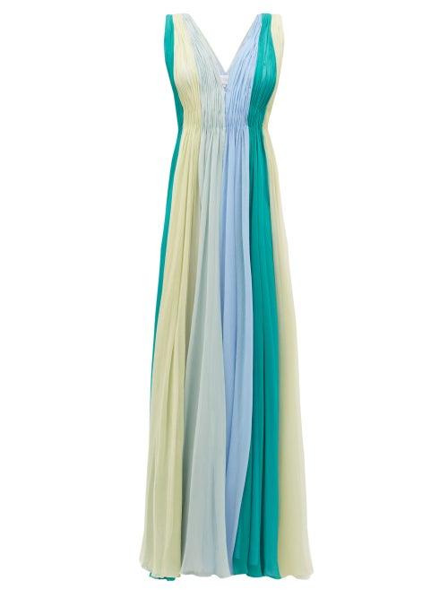 Luisa Beccaria - Panelled Silk-chiffon Maxi Dress - Womens - Green Multi