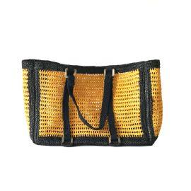 MARAINA LONDON - Agnes Yellow Large Raffia Beach Bag