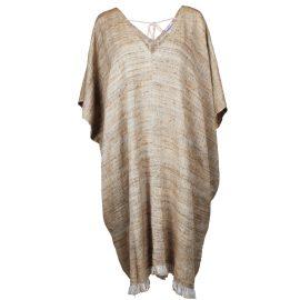 MARAINA LONDON - Alexandra Brown Raw Silk Kaftan Dress