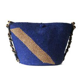 MARAINA LONDON - Annabel Raffia Beach Bag- Blue & Brown