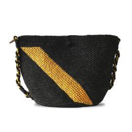 MARAINA LONDON - Annabel Raffia Crochet Beach Bag- Black and yellow