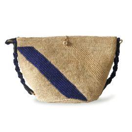 MARAINA LONDON - Annabel Raffia Crocheted Beach Bag - Natural & Blue