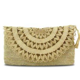 MARAINA LONDON - Elise Raffia Evening Clutch Bag In Natural Beige