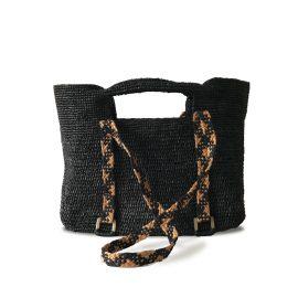 MARAINA LONDON - Ines Ms Black Raffia Beach Shoulder Bag
