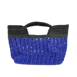 MARAINA LONDON - Ines Odette Raffia Beach Bag- Blue