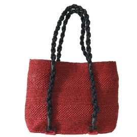 MARAINA LONDON - Mimosa Red Beach Raffia Tote Bag