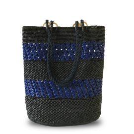 MARAINA LONDON - Zoe Black & Blue Raffia Tote Beach Bag