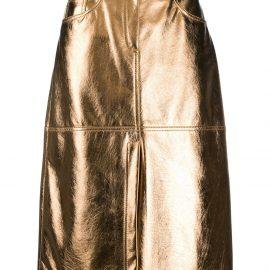 MSGM metallic knee-length skirt - Gold