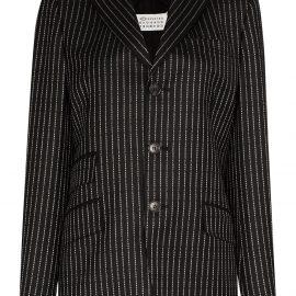 Maison Margiela logo pinstripe blazer - Black