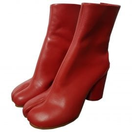 Maison Martin Margiela Tabi Red Leather Ankle boots for Women