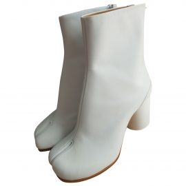 Maison Martin Margiela Tabi White Leather Ankle boots for Women