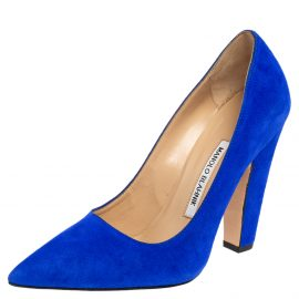 Manolo Blahnik Blue Suede Alba Pointed Toe Pumps Size 37