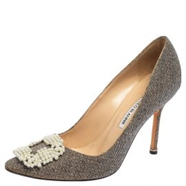 Manolo Blahnik Gold/Silver Shimmery Lamé Fabric Hangisi Pumps Size 37.5