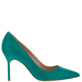 Manolo Blahnik Green Calf Leather BB Pointed Toe Pumps Size IT 37