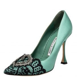 Manolo Blahnik Green Lace And Satin Hangisi Pointed Toe Pumps Size 38.5