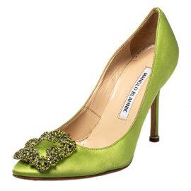 Manolo Blahnik Green Satin Hangisi Pumps Size 35