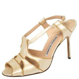Manolo Blahnik Metallic Beige Satin and Leather Trim Slingback Sandals Size 38