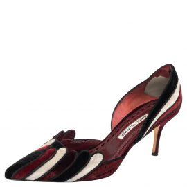 Manolo Blahnik Tricolor Velvet D'Orsay Pumps Size 40