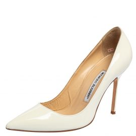 Manolo Blahnik White Patent Leather BB Pointed Toe Pumps Size 37