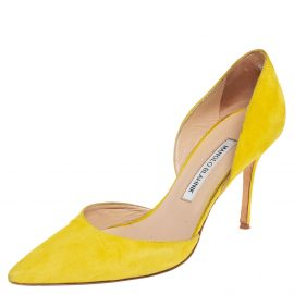 Manolo Blahnik Yellow Suede Tayler Pointed Toe Pumps Size 39