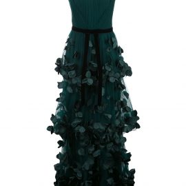 Marchesa Notte flower-embellished maxi dress - Green