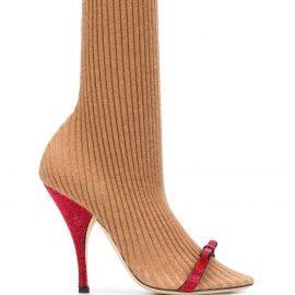 Marco De Vincenzo 110mm ribbed sock pumps - Neutrals
