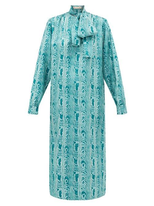 Marni - Tie-neck Silk Midi Dress - Womens - Green Multi