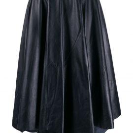 Marni asymmetric leather midi skirt - Blue
