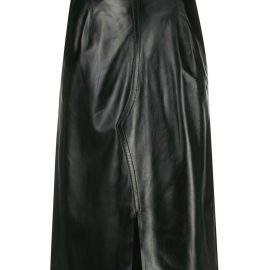Marni leather high-waisted midi skirt - Black