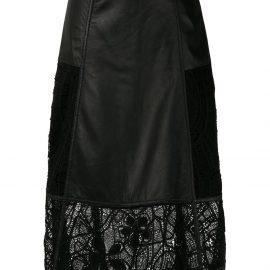 Martha Medeiros Renascença midi leather skirt - Black