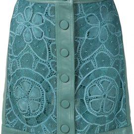 Martha Medeiros leather lace skirt - Blue