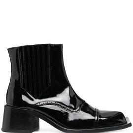 Martine Rose Cream patent leather ankle boots - Black